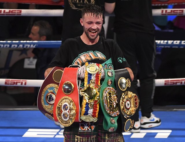 Josh Taylor poses with his title belts after his win by unanimous decision over Jose Ramirez. The five belts are from the WBO, WBA, IBF and WBC and The Ring magazine.  Picture: David Becker/Getty Images
