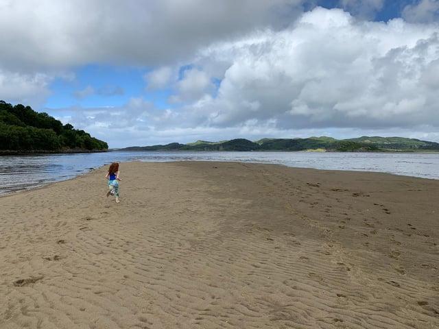 Fun on the beach by Crinan in Argyll