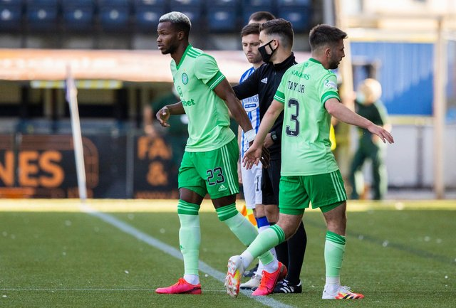 Celtic's Boli Bolingoli comes on as a substitute for Greg Taylor (right) during a Scottish Premiership match between Kilmarnock and Celtic at Rugby Park, on August 09, 2020. (Craig Williamson / SNS Group)