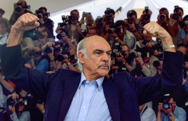 Sir Sean Connery poses for photographers during the photocall for Entrapment, at the Cannes Film Festival in 1999