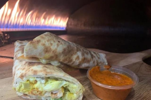 Crispy chicken wrap with cheese at Taza in Town, 69 Bread Street Edinburgh.