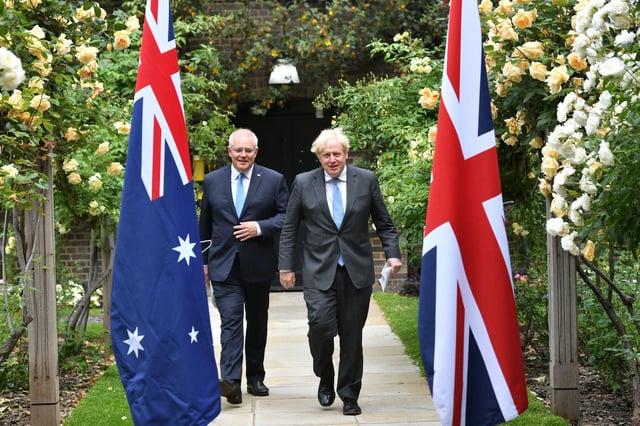 Australia's Prime Minister Scott Morrison met with Boris Johnson in Downing Street on Monday (Getty Images)
