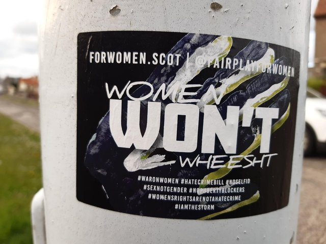 The 'Women Won't Wheest' sticker that was judged by police to be 'controversial'. PIC: Contributed.