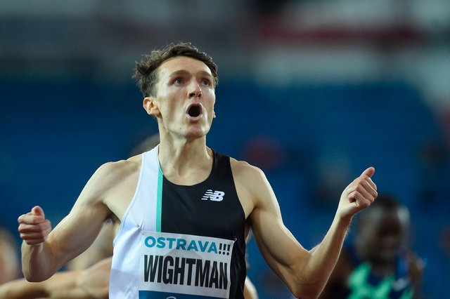 Jake Wightman celebrates his 800m victory at the Golden Spike meeting in Ostrava last month.