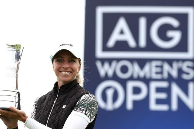 Germany's Sophia Popov poses with the trophy following victory in the 2020 AIG Women's Open at Royal Troon. Picture: R&A handout via Getty Images
