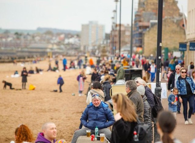 Crowds enjoying Portobello Beach in Edinburgh over Easter weekend when the 'stay at home' rule became 'stay local' in Scotland picture: Scott Louden