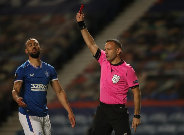 Kemar Roofe's dismissal for a high challenge on Slavia Prague goalkeeper Ondrej Kolar (not pictured) at Ibrox in March means he will be suspended for the start of Rangers' Champions League campaign next season. (Photo by Ian MacNicol/Getty Images)