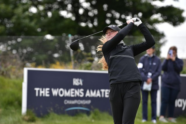 Louise Duncan in action during the semi-finals of the R&A Women's Amateur Championship at Kilmarnock (Barassie) Golf Club. Picture: Charles McQuillan/R&A/R&A via Getty Images.