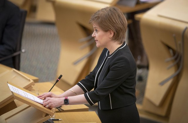 First Minister of Scotland, Nicola Sturgeon, during a Covid briefing at the Scottish Parliament in Holyrood, Edinburgh.