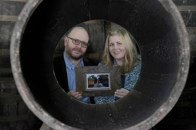 Ross and Kristen Hunter, the founders of luxury glamping pod company Armadilla and Whisky Frames, featuring personalised photo frames made from old whisky barrels, have launched Barrel Smiths, with ongoing support from Business Gateway Midlothian. Picture: Neil Hanna Photography