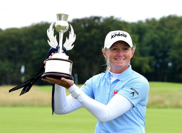 Stacey Lewis celebrates winning the last edition of the Aberdeen Standard Investments Ladies Scottish Open at The Renaissance Club in 2020. Picture: Mark Runnacles/Getty Images.