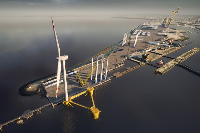 A CGI image showing the proposed outer berth at the Port of Leith with a floating foundation and offshore wind turbine (Picture: Forth Ports)