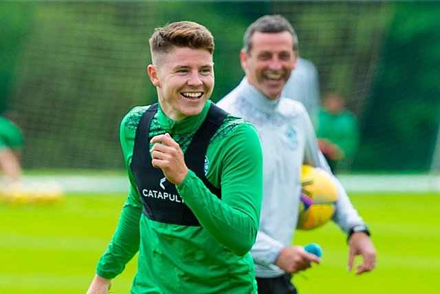 All smiles from Hibs' Kevin Nisbet, who was named in the latest Scotland squad, and club manager Jack Ross. Photo by Mark Scates / SNS Group