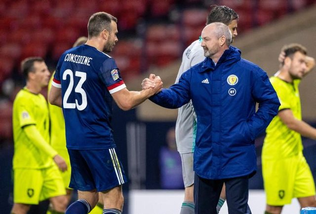 Will Scotland manager Steve Clarke (right) give Andy Considine a Euro 2020 call-up? (Photo by Craig Williamson / SNS Group)