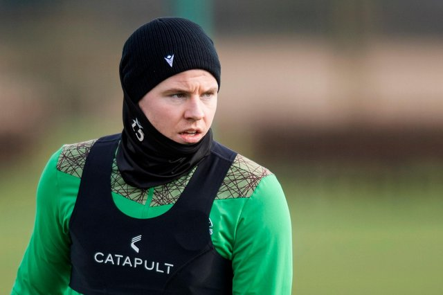 Kevin Nisbet, whose proposed switch to Birmingham City failed to materialise, trained with his Hibs team-mates ahead of their Tuesday night league match against St Mirren. Photo by Mark Scates / SNS Group