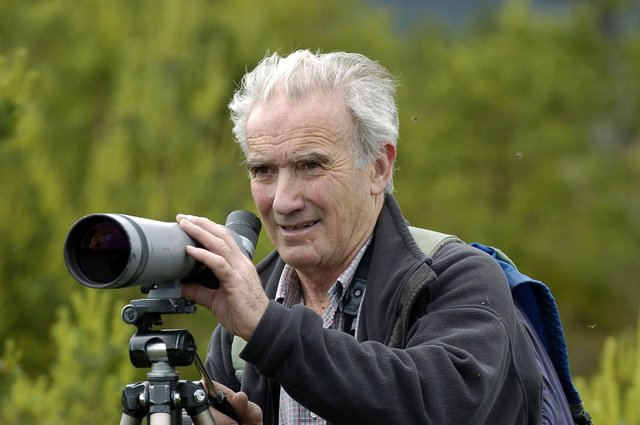 Roy Dennis at an osprey nest site in Strathspey.