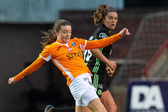 CUMBERNAULD, SCOTLAND - OCTOBER 17: Clare Shine in action for Glasgow City during a Scottish Women's Premier League match between Glasgow City and Celtic, on October 18, 2020, in Cumbernauld, Scotland (Photo by Ross MacDonald / SNS Group)