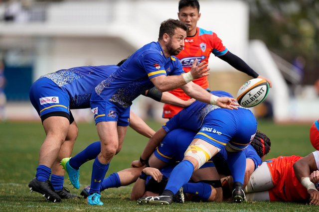 Greig Laidlaw in action for NTT Communications Shining Arcs during a Top League match against Kubota Spears. Picture: Toru Hanai/Getty Images