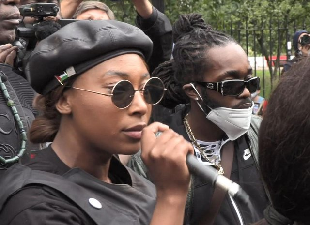 Sasha Johnson pictured in August speaking during the Million People March in London (PA).