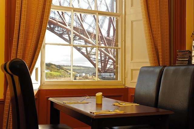 The former dining room at the Albert Hotel, North Queensferry, with spectacular views of the Forth Rail Bridge
