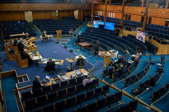 The Assembly is being held mainly online with only a few present in the hall.  Picture: Andrew O'Brien