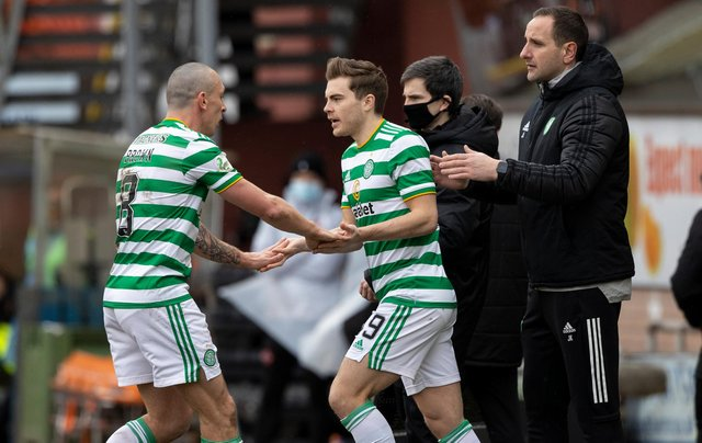 Celtic's James Forrest comes on to replace Scott Brown at Tannadice on Sunday to bring an end to almost six months out following an ankle fracture. (Photo by Craig Williamson / SNS Group)