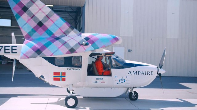 The Ampaire electric aircraft is sporting tartan winglets for its trials in Orkney. Picture: Ampaire