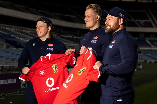 Edinburgh Rugby trio Hamish Watson, Duhan van der Merwe and Rory Sutherland at BT Murrayfield after their call-up for the Lions. Picture: Craig Williamson/SNS