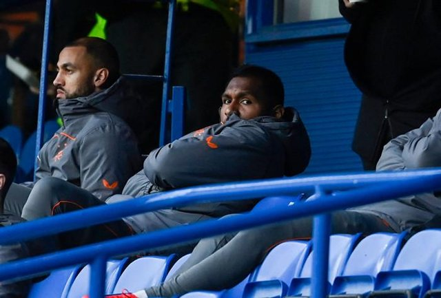 Alfredo Morelos looks on from the substitutes' bench as Rangers beat Livingston 2-0 at Ibrox on Sunday. The Colombian striker is set to return to the starting line-up against Lech Poznan on Thursday night. (Photo by Rob Casey / SNS Group)