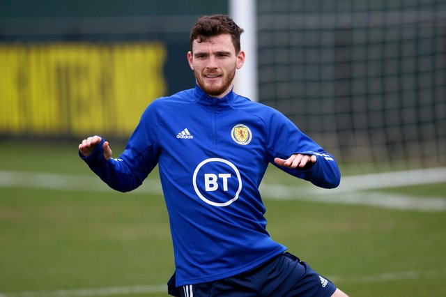 Scotland skipper Andy Robertson warms up ahead of the World Cup qualifier against the Faroe Islands - he has been the target for recent criticism (Photo by Craig Williamson / SNS Group)