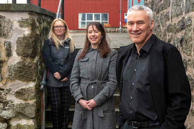 From left: paralegal Jennifer Smith and associate Laura Sinclair with colleague Neil Risk. Picture: Dave Donaldson.