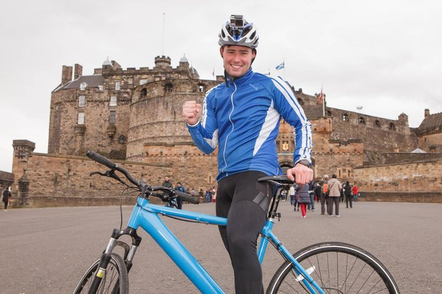 Josh Quigley pictured at Edinburgh Castle. The Livingston cyclist is in hospital in Dubai with multiple fractures after a serious crash. Picture: Toby Williams