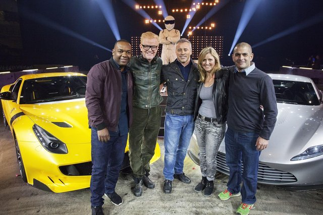 Top Gear presenters (left to right) Rory Reid, Chris Evans, Matt LeBlanc, Sabine Schmitz and Chris Harris.