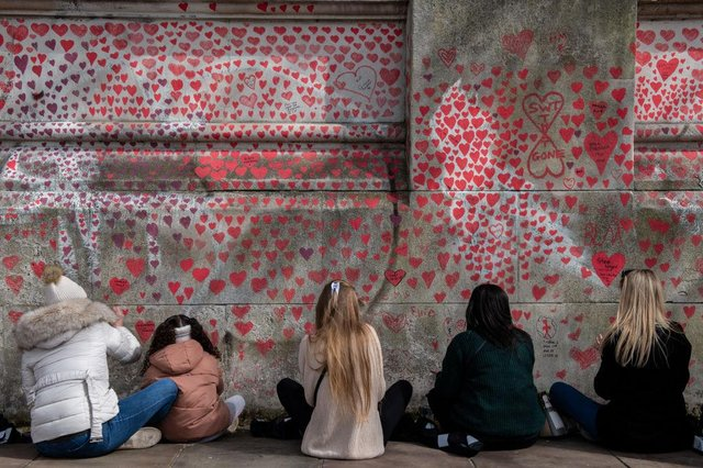 The Covid-19 memorial wall in London. Picture: Getty Images