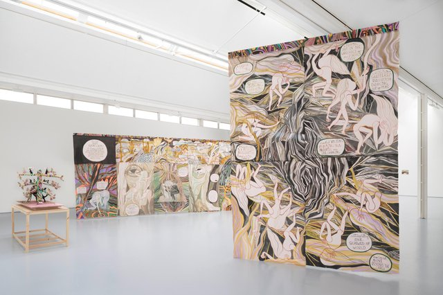 An installation view of Ghost Calls by Emma Talbot at Dundee Contemporary Arts PIC: Ruth Clark