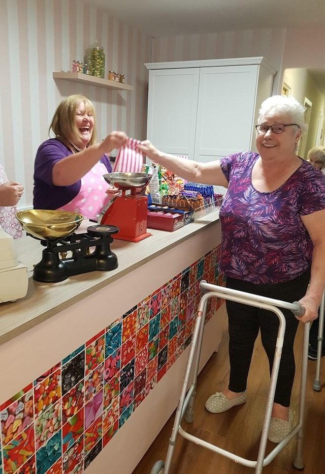 The old-fashioned sweet shop is hugely popular with care home residents.