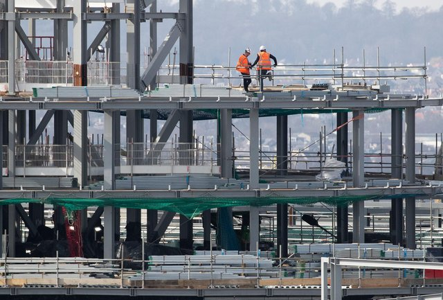 Construction workers on the site of the new St James' Shopping Centre that is being built in Edinburgh city centre