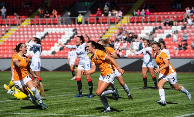 CUMBERNAULD, SCOTLAND - JUNE 06: Niamh Farrell (centre) celebrates her goal to make it 2-0 Glasgow City. (Photo by Mark Scates / SNS Group)