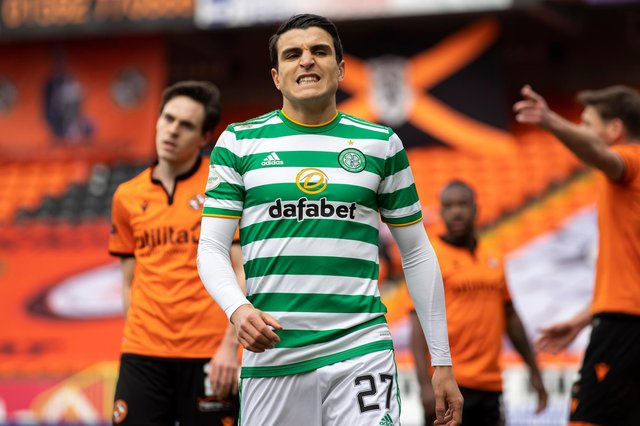 Celtic's Mohamed Elyounoussi shows his frustration after failing to take a number of chances against Dundee United at Tannadice Park. (Photo by Craig Foy / SNS Group)