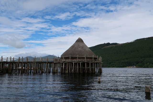 The replica crannog on Loch Tay, where the butter was found.
