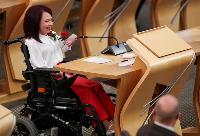 Labour MSP Pam Duncan-Glancy attends the Oath and Affirmation ceremony at the Scottish Parliament in Edinburgh, Scotland on May 13, 2021. Photo by Russell Cheyne/AFP
