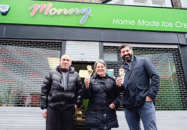 Harem Murdochy, owner of Oscar's Gelato, poses with Guiseppe and Cecilia of Monny's Ice Cream as he secures a new lease of life for their site on Brighton Place in Portobello
