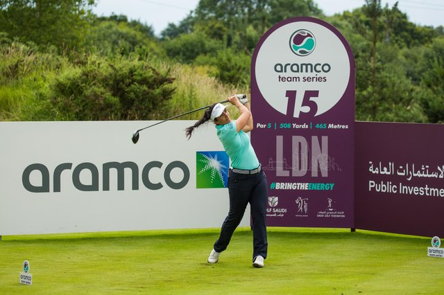 Kelsey MacDonald during the first round of the Aramco Team Series at Centurion Club. Credit: Tristan Jones.