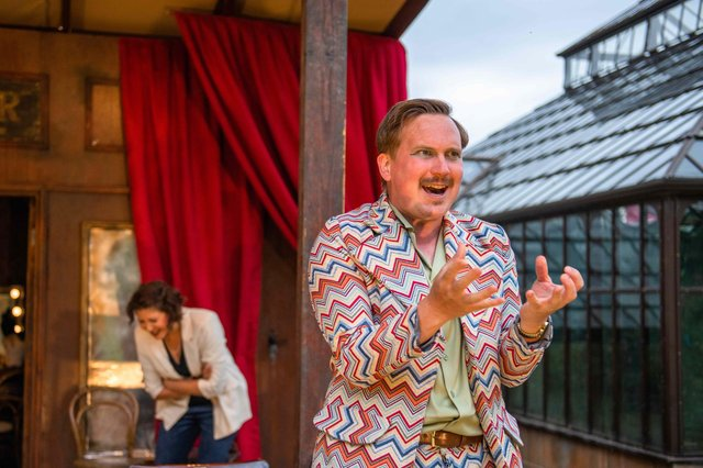Adam Donaldson as Sir Toby Belch in the Bard in the Botanics 2021 production of Twelfth Night PIC: Tommy Ga-Ken Wan
