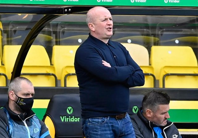 Livingston manager David Martindale looks on during his team's 3-0 defeat against Rangers.  (Photo by Rob Casey / SNS Group)
