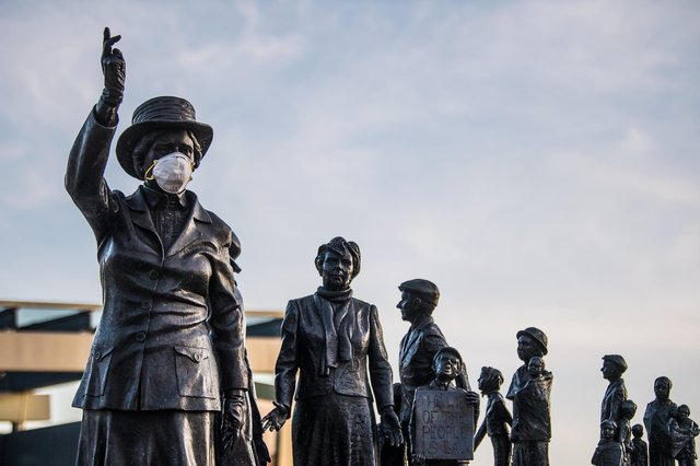 There were no complaints about this representation of Mary Barbour when her statue was unveiled. (Picture: John Devlin)