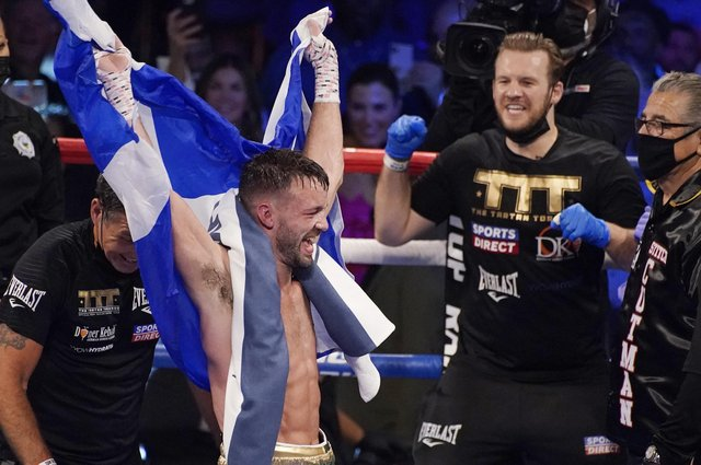Josh Taylor celebrates after defeating Jose Ramirez by a unanimous decision in Las Vegas. Picture: John Locher/AP