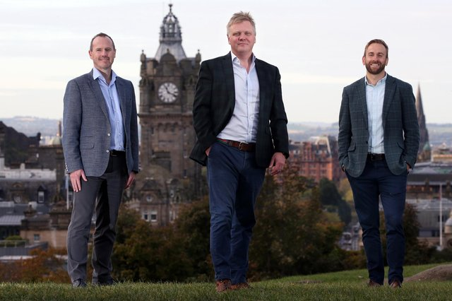 Left to right in photo are Jeff Drennan, Roger Daynes and Jamie Watts of Amplifi Solutions, which has been expanding its footprint in Scotland. Picture: Stewart Attwood
