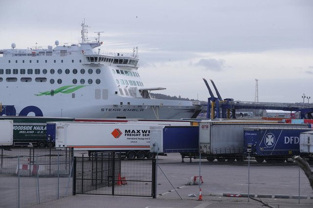 A Stena Ferry and freight trucks in Belfast where the port has been at the centre of Brexit tensions.