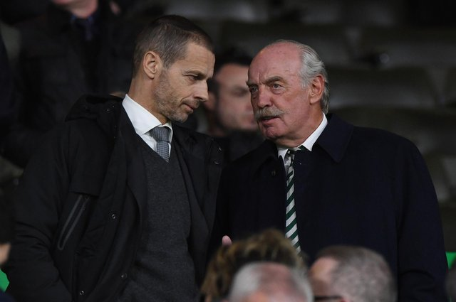 Uefa president Aleksander Ceferin (left) with Celtic majority shareholder Dermot Desmond at a Europa League encounter in 2019. Picture: SNS